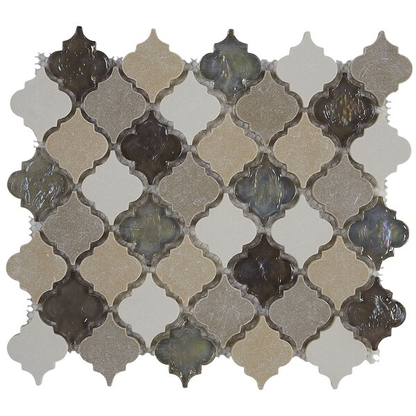 Benson Baroque 2 x 1 Glass Mosaic Tile in Blanc et Beige by Itona Tile