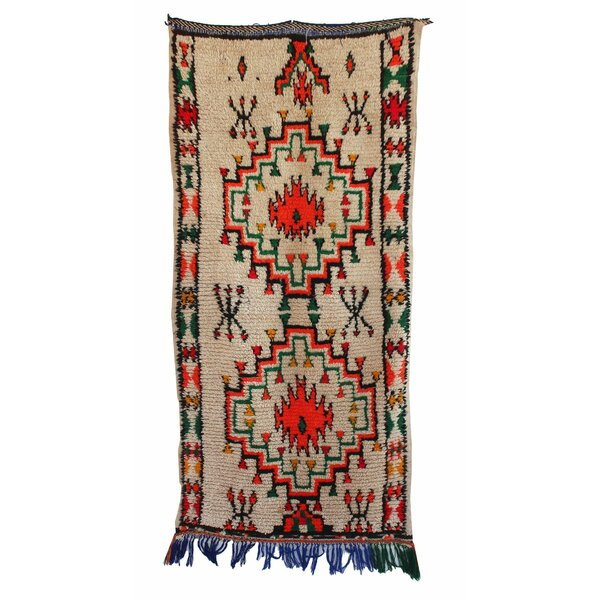 Azilal Vintage Moroccan Hand Knotted Wool Gray/Red/Green Area Rug by Indigo&Lavender