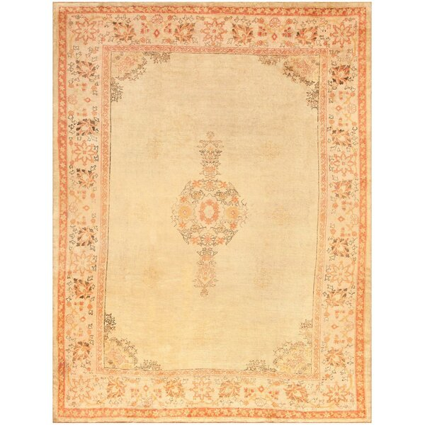 One-of-a-Kind Turkish Hand-Knotted 1920s Oushak Gold 9'6 x 12'5 Wool Area Rug