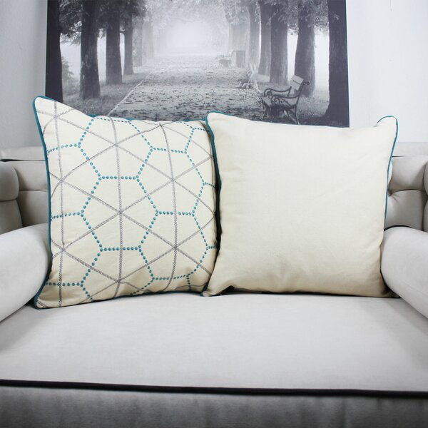 Dowdle Embroidery Cotton Throw Pillow by Wrought Studio