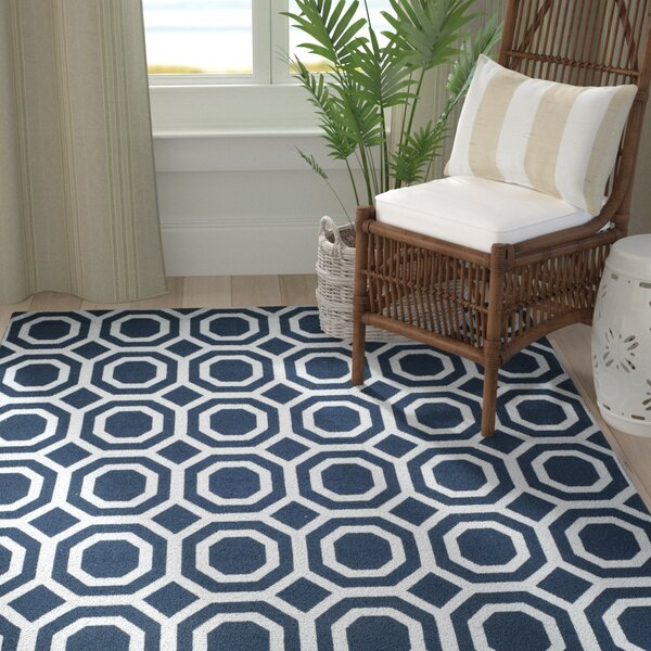Branford Hand-Loomed Navy & Silver Area Rug by Breakwater Bay