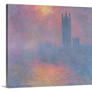 'The Houses of Parliament, London, with the Sun Breaking Through the Fog' by Claude Monet Painting Print on Canvas by Great Big Canvas