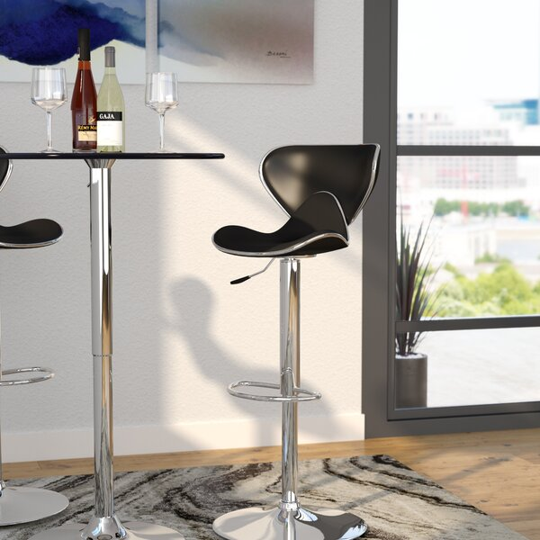Marlon Adjustable Height Swivel Bar Stool by Wade Logan