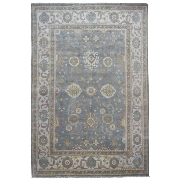 One-of-a-Kind Finadeni Traditional Oriental Hand Woven Wool Blue/Gray Fringe Area Rug by Isabelline