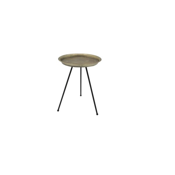 Renn Small Iron Tripod Antique End Table by World Menagerie