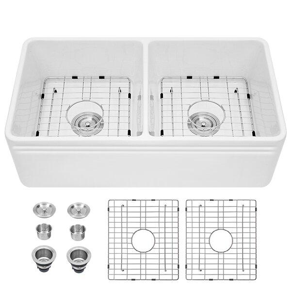 Porcelain Ceramic Fireclay 33 L x 18 W Double Basin Farmhouse Kitchen Sink