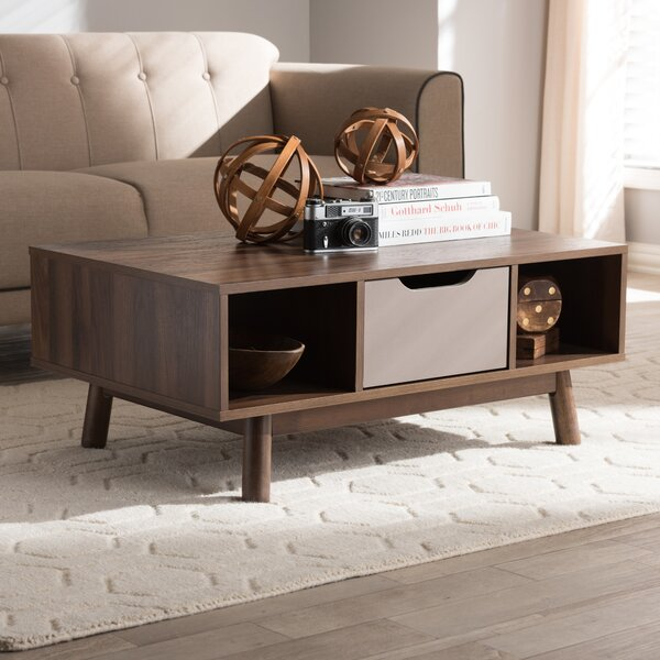 Hilson Mid-Century Modern Wood Coffee Table by Wrought Studio