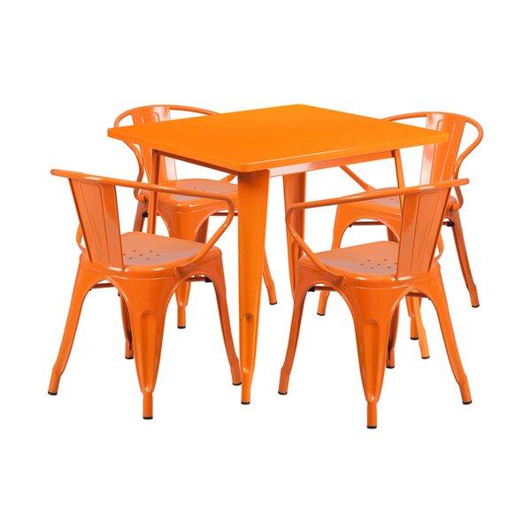 Adalius Square Indoor-Outdoor 5 Piece Dining Set by Ebern Designs