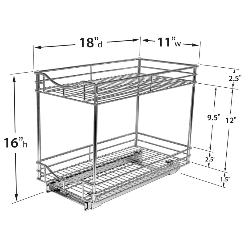 Lynk Roll Out Double Shelf Pull Out Two Tier Sliding