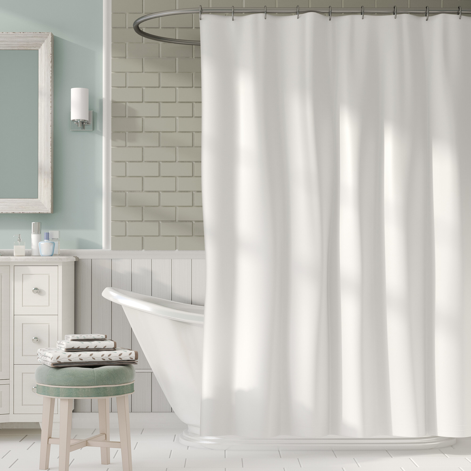 2 In 1 Single Shower Curtain