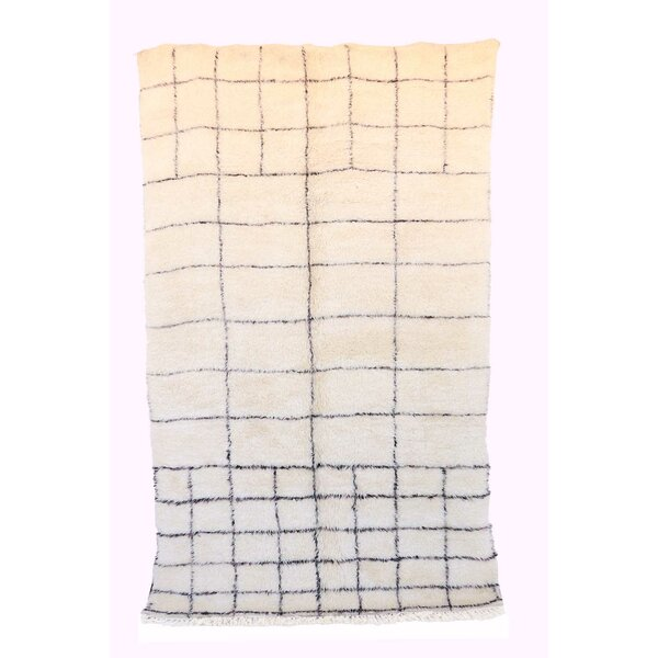 One-of-a-Kind Beni Ourain Moroccan Hand-Knotted Wool Beige/Black Area Rug by Indigo&Lavender