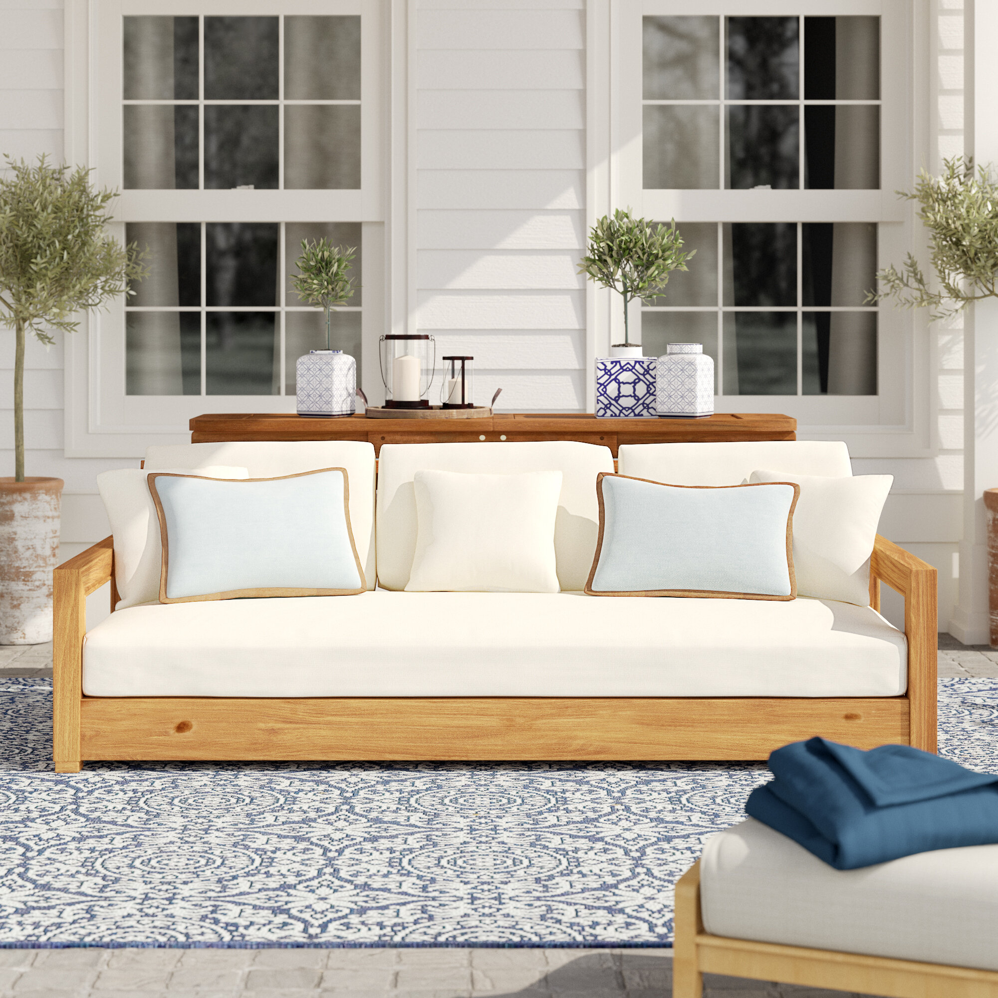 Tremendous Rosecliff Heights Lakeland Teak Patio Sofa With Cushions Alphanode Cool Chair Designs And Ideas Alphanodeonline