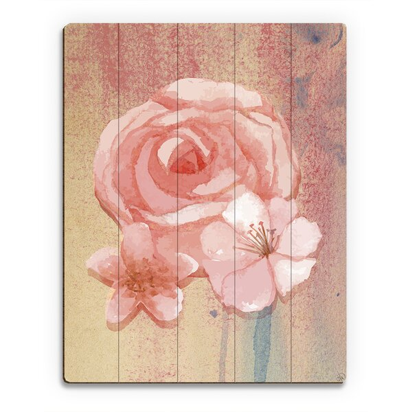 Wood Slats Pink Water Rose Painting Print on Plaque by Click Wall Art