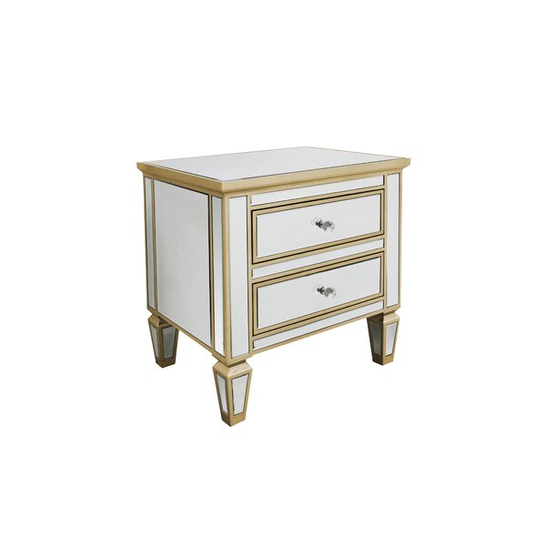 Mccombs Modern Mirrored 2 Drawer Nightstand (Set of 2) by House of Hampton