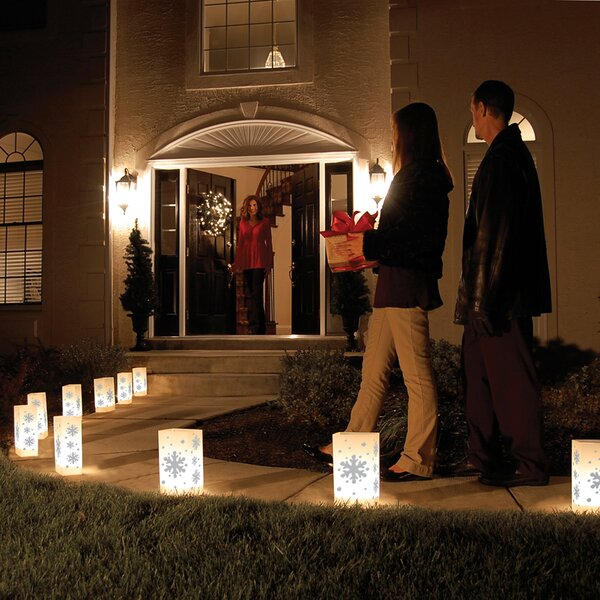 Snowflake 10 Count Electric Luminaria Kit (Set of 10) by Luminarias