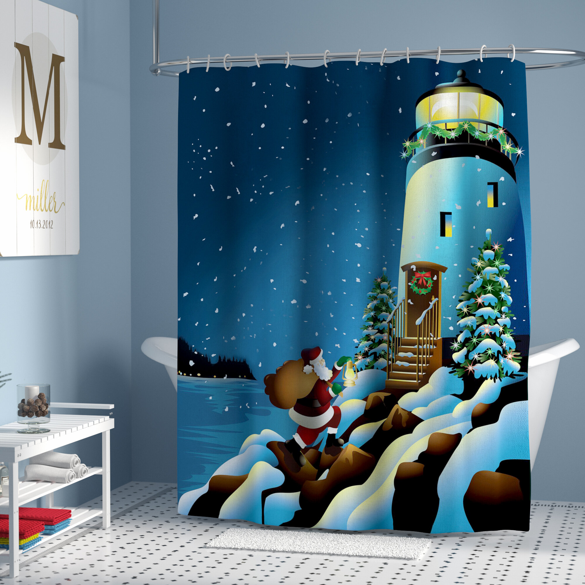 The Holiday Aisle Lighthouse Shower Curtain Reviews