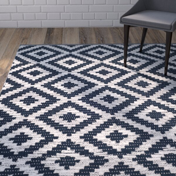Harlow Hand-Woven Navy/Ivory Area Rug by Wrought Studio
