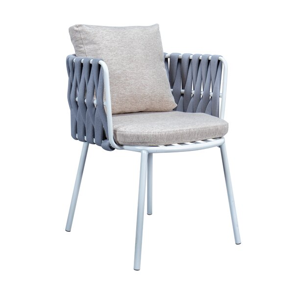 Daenerys Patio Dining Chair with Cushion by Rosecliff Heights