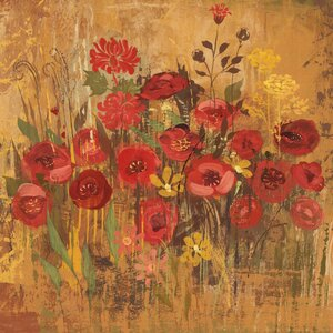 'Floral Frenzy Red Vi' Painting Print on Wrapped Canvas by Three Posts