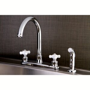 Kingston Brass Victorian Centerset Double Handle Kitchen Faucet with Side Spray