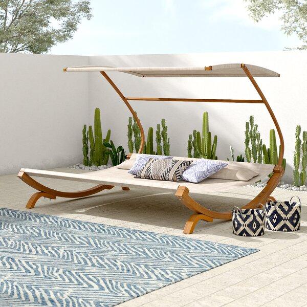Tillis Double Teak Chaise Lounge With Cushion By Mistana