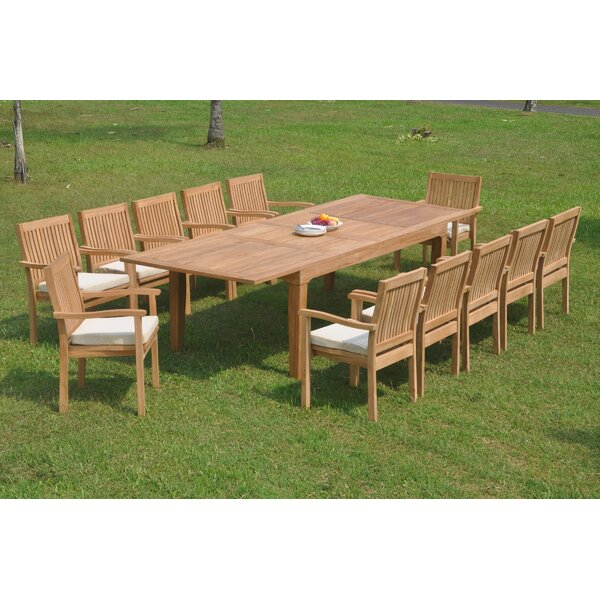 Deming 13 Piece Teak Dining Set by Rosecliff Heights