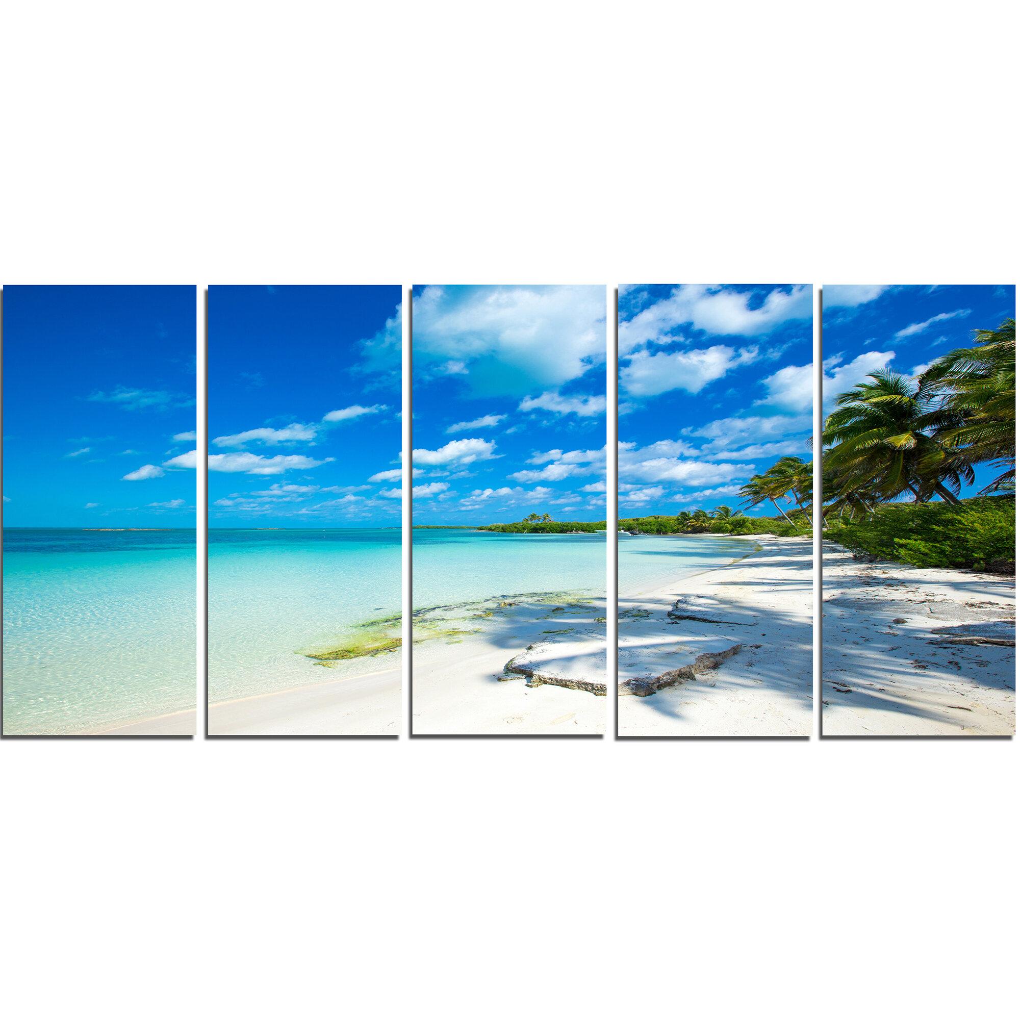 Designart Tropical Beach With Palm Shadows 5 Piece Wall Art On Wrapped Canvas Set Reviews Wayfair
