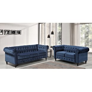 Fedele 2 Piece Velvet Living Room Set by House of Hampton®