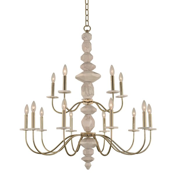 Carrara 2 Tier 15-Light Chandelier by Kalco
