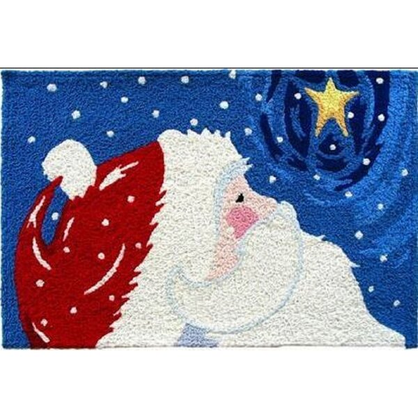 Ellsworth Star Gazing Santa Hand-Tufted Red/Blue Indoor/Outdoor Area Rug by The Holiday Aisle