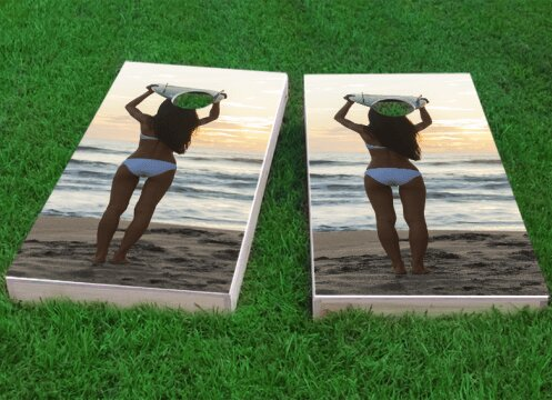 Bikini Surfer Girl on the Beach Cornhole Game (Set of 2) by Custom Cornhole Boards