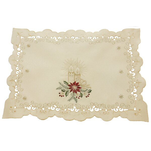 Golden Glow Embroidered Cutwork Christmas Placemat (Set of 4) by The Holiday Aisle