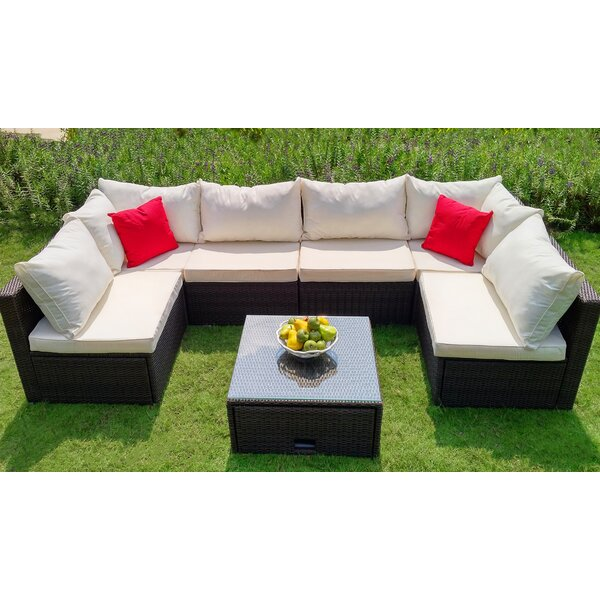 Ankeny 7 Piece Sectional Seating Group Set with Cushions by Wrought Studio