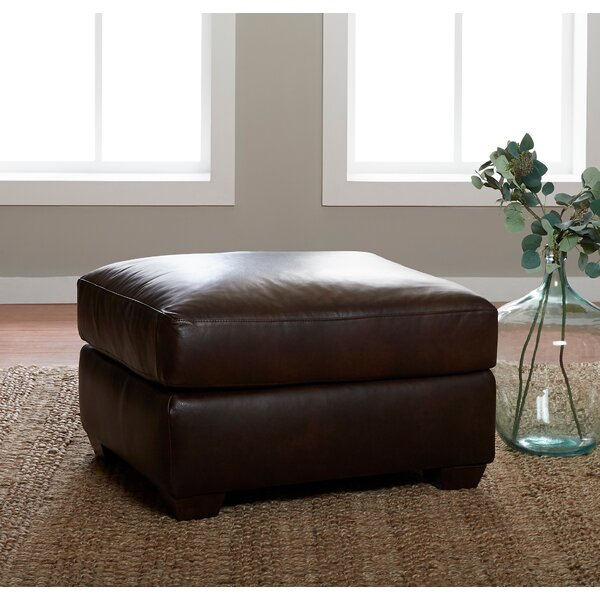 Delanie Leather Ottoman By Millwood Pines