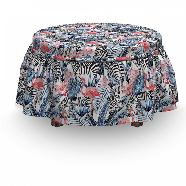 Flamingo 2 Piece Box Cushion Ottoman Slipcover Set By East Urban Home