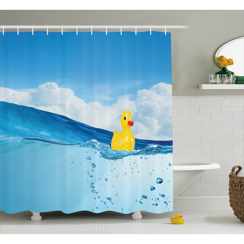 Rubber Duck Swimming In Pool Shower Curtain