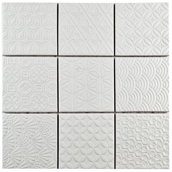 Vigor 3.88 x 3.88 Porcelain Mosaic Tile in White by EliteTile