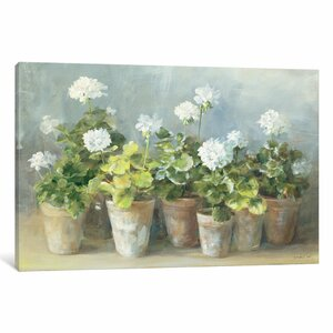 Blooming Potted Flowers' Painting Print on Wrapped Canvas by August Grove