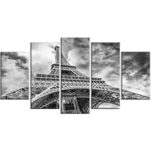 'Black and White View of Paris Eiffel Tower' 5 Piece Photographic Print on Wrapped Canvas Set by Design Art