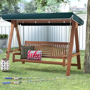Allen 3 Seater Wood Canopy Porch Swing with Stand by Loon Peak