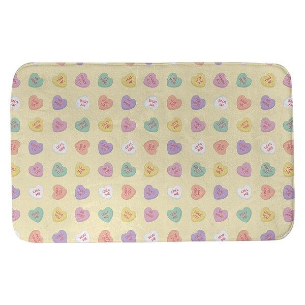 Festive Hol Candy Hearts Pattern Rectangle Bath Rug