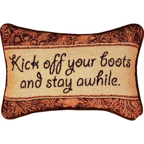 Kick Off Your Boots Word Lumbar Pillow by Manual Woodworkers & Weavers