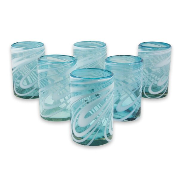 Hand Blown Water 15 Oz. Every Day Glasses (Set of 6) by Novica