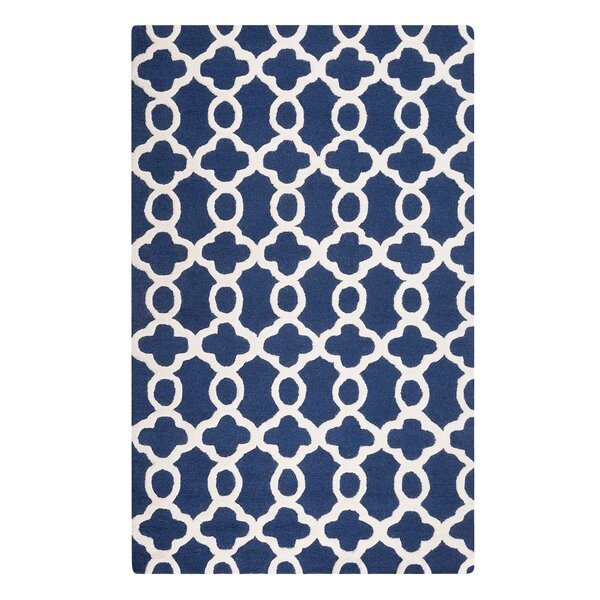 Zile Hand-Tufted Dark Blue Area Rug by Home Loft Concepts