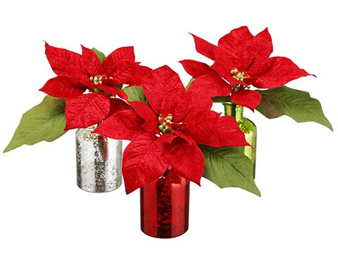 Velvet Poinsettia Centerpiece in Decorative Vase (Set of 3) by The Holiday Aisle