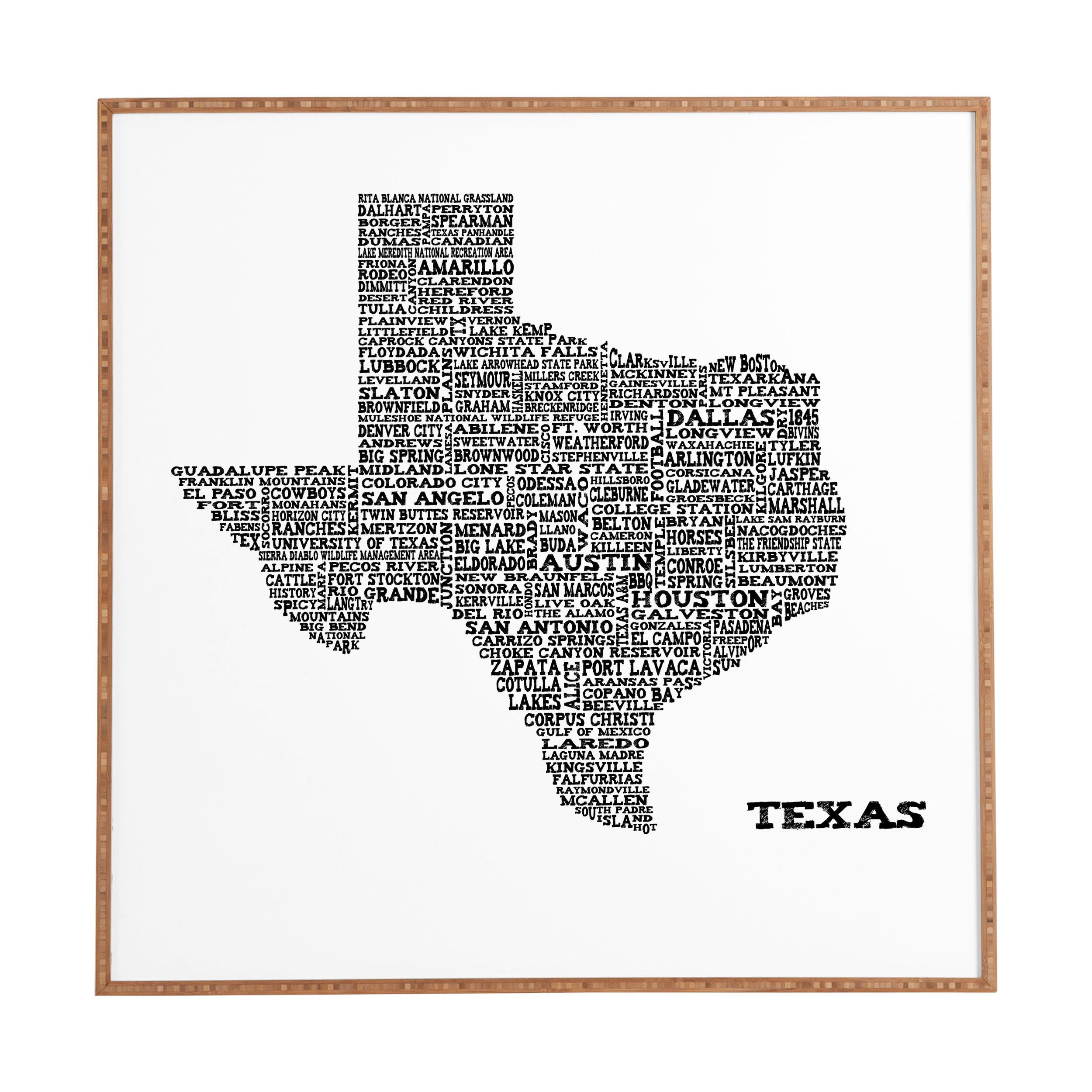 East Urban Home \'Texas Map\' Framed Graphic Art & Reviews   Wayfair
