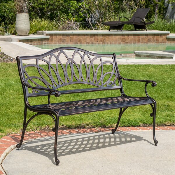 Upper Swainswick Spiral Cast Aluminum Outdoor Bench by Fleur De Lis Living