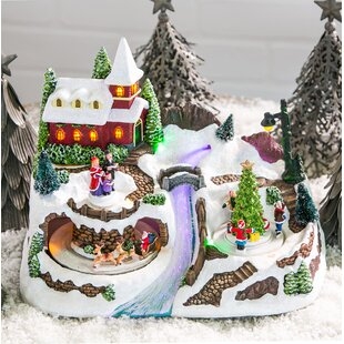 christmas village with river led scene
