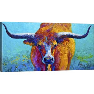 'Wide Spread Texas Longhorn' Painting Print on Wrapped Canvas by Latitude Run