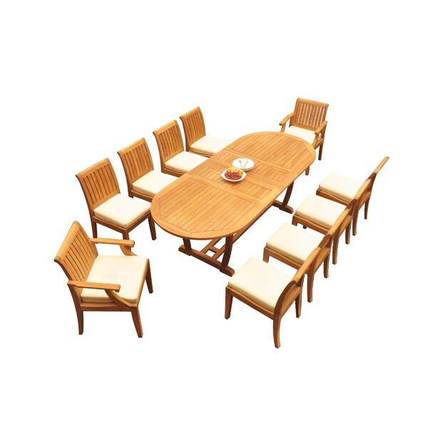 Savion 11 Piece Teak Dining Set by Rosecliff Heights